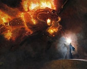 Lord of the Rings LOTR inspired fine art print of my original oil painting, Gandalf and the Balrog. Signed by the artist