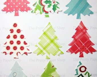 30 Large  Evergreen Christmas Tree punch die cut embellishments E1568