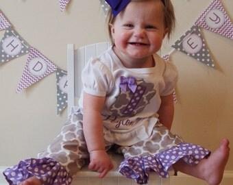 Girls Gray and Purple Monogrammed Birthday Shirt & Ruffle Pant Set