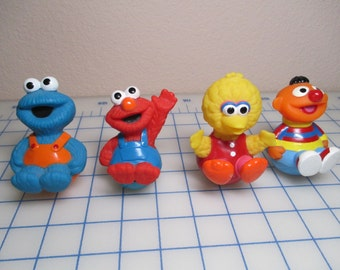Vintage Sesame Street Characters - Weeble Wobbles - Roly Poly Pals - Ernie - Big Bird