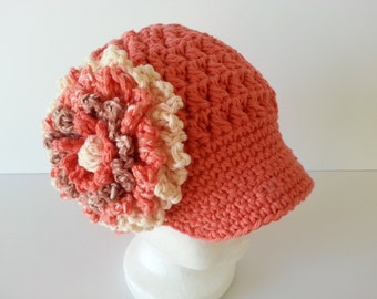 Crochet Textured Cap W/Brim-Newsboy Hat-Baby Fashion Hat-Kids Brim Hat-Girls Flower Hat-Adult Cap-Teen Beanie-Womans Newsboy Hat