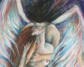 Angels Kiss romantic art print of two embracing lovers Angel Love picture