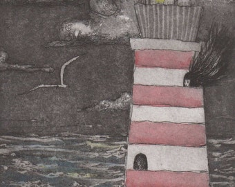 Lighthouse Keeper gorgeous limited edition etching : hand colored with poem OOAK