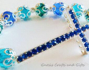 Blue- Sideways cross bracelet, Religious jewelry, Gift for Bride, Silver cross bracelet, Something blue, Rhinestone cross bracelet, Beaded