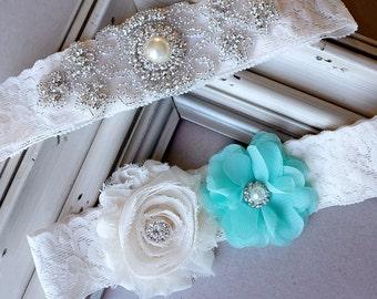 Wedding Garter Bridal Garter TEAL BLUE Garter Set Lace Garter Ivory Rhinestone Crystal Center Garter Beach Wedding GR111LX