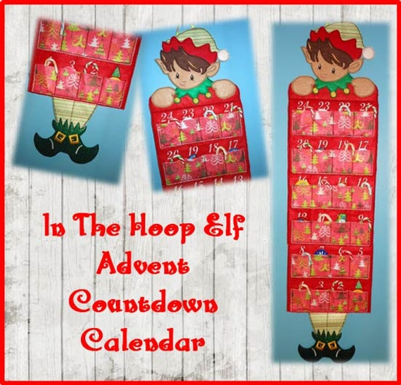 Calendar Embroidery Design : In the hoop advent countdown calendar elf embroidery machine