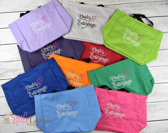 7 Personalized Bridesmaids Gift Tote Bags- Monogrammed Tote-  Bridal Party Gift