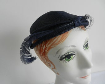 Patriotic Navy Straw 1950s Hat with Feather by Dennybrook