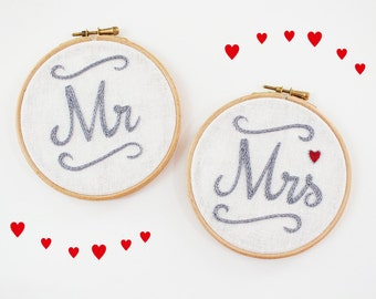 Mr. and Mrs. Wedding signs, wedding chair signs, Wedding photo prop, Wedding sweetheart table decor, newlywed gift, customize embroidery