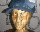 Recyled denim Baker Boy cap.