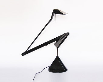 Vintage Industrial Italian Architect Desk Lamp Lumina Zelig Tavolo Black  - A Monici   for Lumina 1990