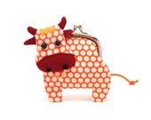 Little friendly orange cow clutch purse