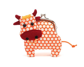 Little friendly orange cow clutch purse