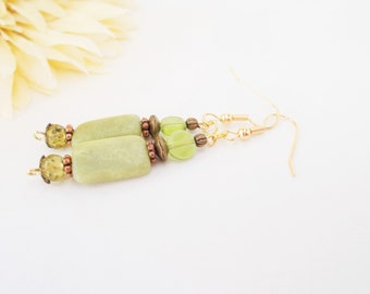African Jade Earrings, Boho Jewelry, Olive Green Bohemian Earrings, Gift for Her, Copper Nickel Free Earrings, Boho Gypsy Stone Earrings