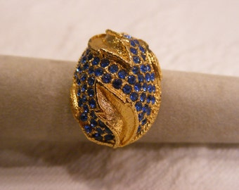 Vintage Adjustable Dome Ring, Sapphire Blue with Leaf Design, Big Ring, Fashion Ring, Costume Ring