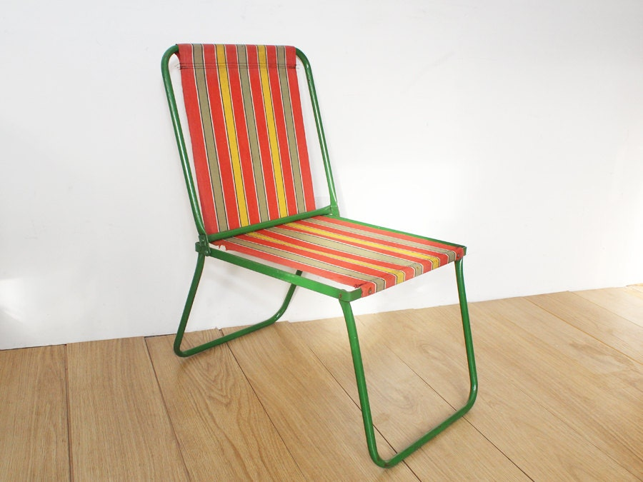 Vintage 1960s Metal Picnic Folding Chair With Striped Canvas