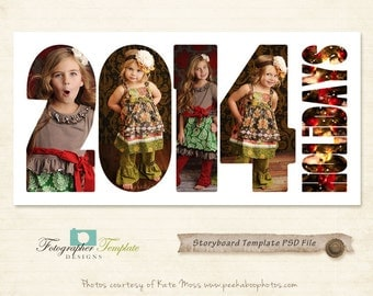 Christmas Photography Storyboard Template  Xmas Collage - 2014 Storyboard Photoshop Template for Photographers - S137
