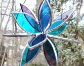 Stained glass 3D flower twirl aqua pale purple garden art outdoor suncatcher home decor glass sculpture