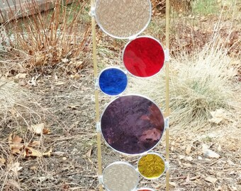 Stained glass garden art stake primary colors purple outdoor yard decoration modern sculpture