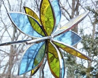 Stained glass 3D flower twirl pale blue yellow garden art outdoor glass art garden sculpture home decor