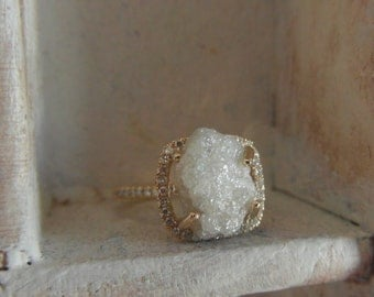 Dazzling snow white-one of a kind engagement ring-14 k yellow gold -raw rough diamond - solitaire-size 4