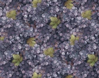 Vino Bellisimo Grapes Allover Purple cotton fabric from Wilmington Prints