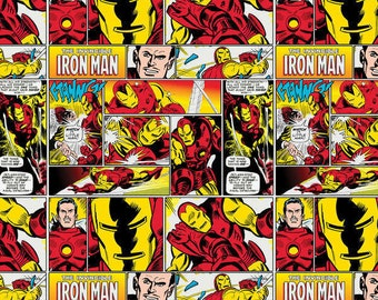 Marvel Red Comics Ironman Patch cotton quilting fabric by Camelot Cottons-superheroes, superhero