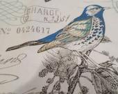Door Draft Stopper, Door Draft Blocker, Door Snake, Cream with  Pretty Birds in a soft Blue and Green on Branches-Last Minute Gift