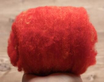 Cardinal Red Needle Felting Wool, Wool Batting, Batts, Fleece, Wet Felting, Spinning, Dyed Felting Wool, Fiber Art Supplies