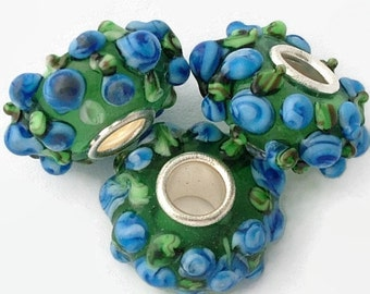 Murano Glass Lampwork Silver Plated Large Hole Beads to fit European Style Charm Bracelet |ES-021-SP