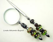 Letter Opener & Magnifying Glass with Handmade Lampwork Glass Beads of Green and Purple