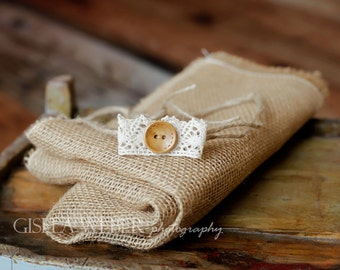 Burlap Layer, Newborn Tieback, Newborn Photo Prop, Lace Newborn Tieback, Baby Halo, Small Newborn Headband, Newborn Layer, Lace Baby Halo