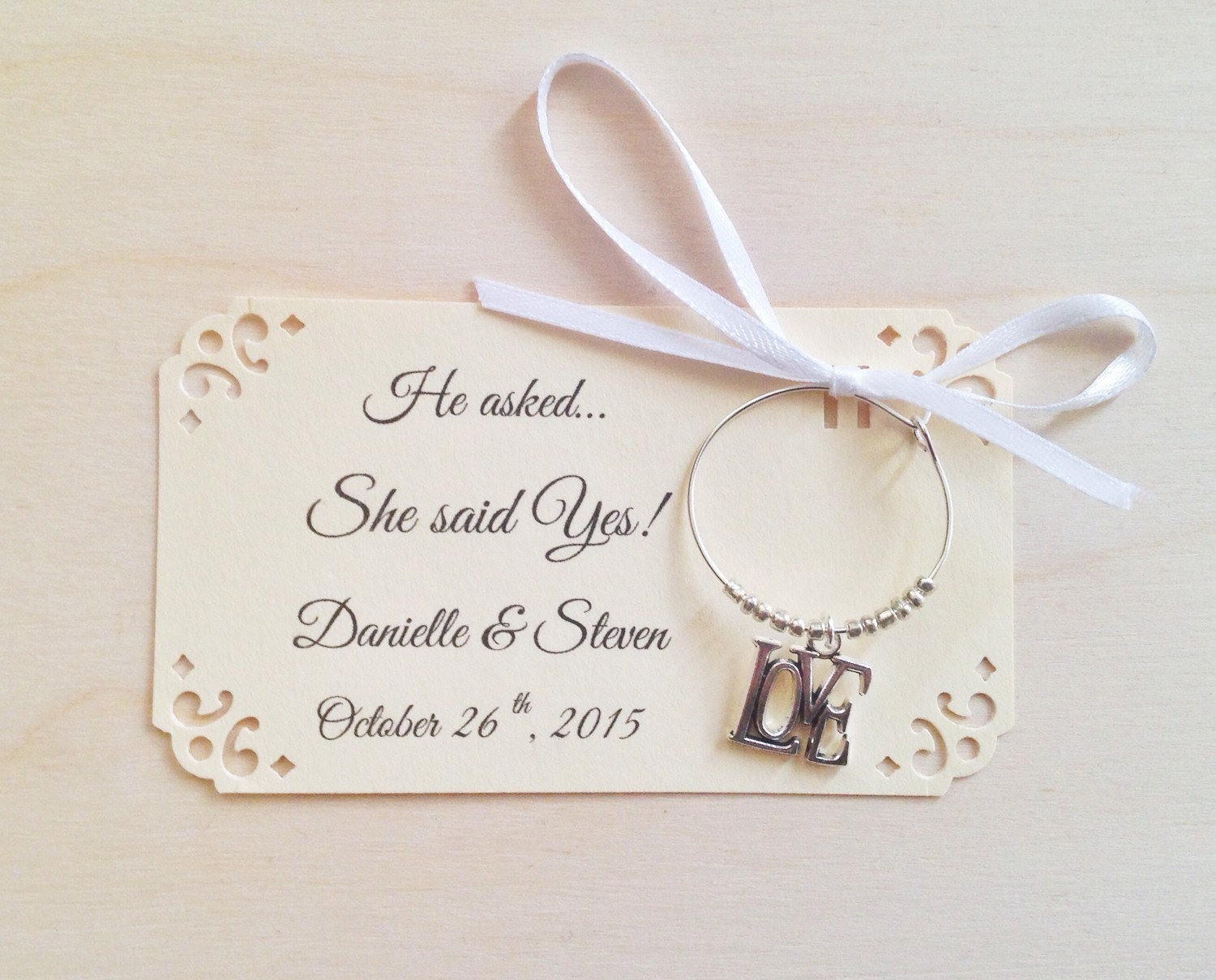 1 to 50 wine charm favors for she said yes bridal shower