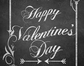 Happy Valentine's Day art, Chalkboard Valentine's day printable, digital download art, invitations, greeting card, poster, lovers day art