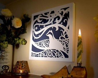 Starry Night Series Chunky Wrapped Canvasses ready to hang papercut print
