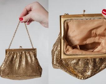 Vintage 1940s Whiting Davis Purse - Golden Mesh Handbag - Bridal Fashions 1950s