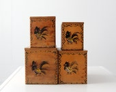 mid century kitchen canisters, wood rooster jars