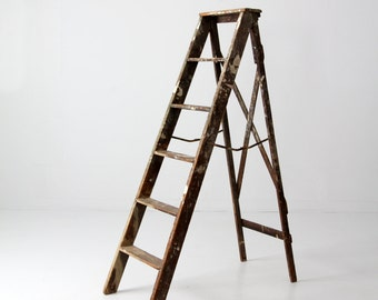 vintage painter's ladder, 5.5 ft ladder, wooden folding ladder