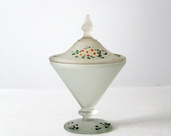 vintage satin glass candy dish, painted covered dish