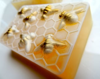 BEE SOAP, HONEYCOMB with Goats Milk Highlight and Gold Shimmered, Scented in Wild Honey, Honey Bee Soap, Party Favor, Wedding Favor
