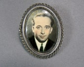 Silver Mourning Brooch, Memento Mori Jewelry, Old Photo, Tinted Photo, Young Man