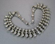 Silver India Necklace, Vintage Wedding Necklace, Mango Motif, Rajasthan, Banjara, Bollywood, Tribal, 900 to 925