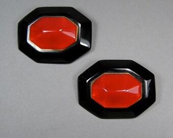 Bakelite Brooch Set, Kilt Pins, Red and Black, Catalin, Bakelite Jewelry