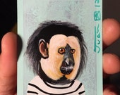 White Faced Saki Portrait on a Playing Cards. Original acrylic painting. 2012