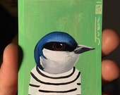Tree Swallow portrait on a playing cards. Original acrylic painting. 2013