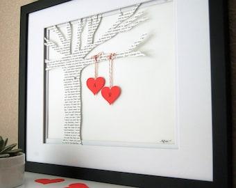 Wedding gift, Framed Wedding Art, Personalized Wedding Gift, Wedding First Dance Song, First Anniversary Paper Gift,