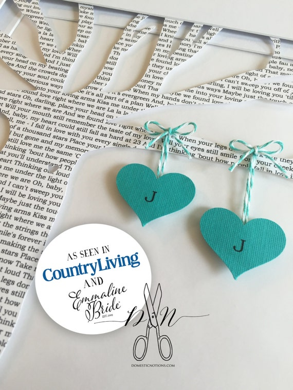 Custom Wedding Gift, Wedding Vows, First Dance Song, Printed Paper Tree with Hanging Hearts