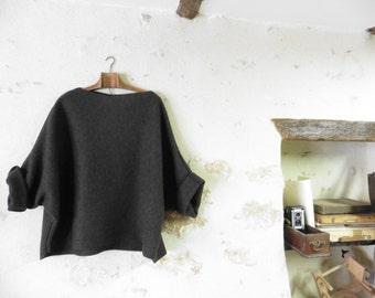 Dark Khaki Green Slouchy Warm Tunic Sweater in Boiled Wool - Raglan Wide Sleeves  FREE SHIPPING