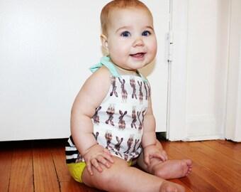 BABY DRESS/TUNIC toddler top shirt, bunny stripes, organic kids 6 mo-2t halter