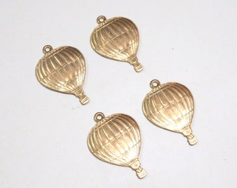Raw Brass Small Hot Air Balloon Charms - 4 Four
